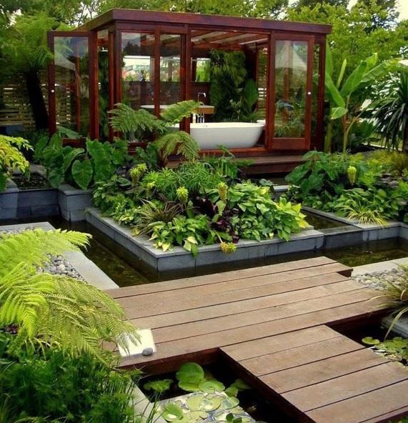 Modern bahçe dekorasyonu örnekleri bahçede çardak