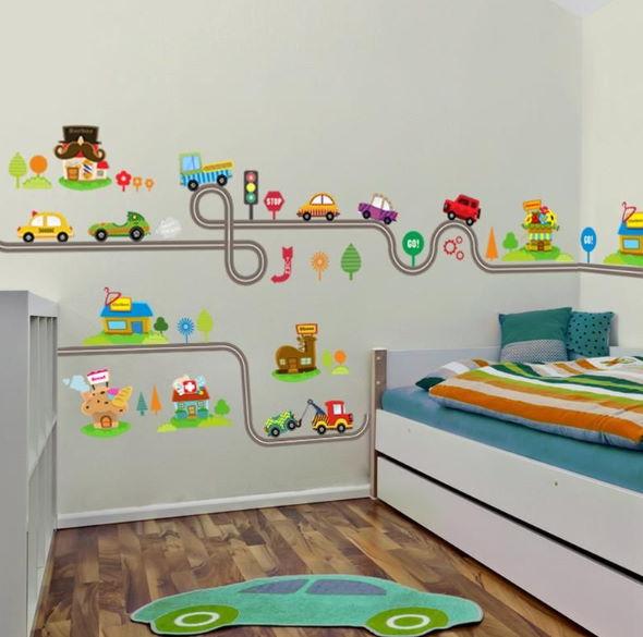 Çocuk Odası Duvar Stickerleri : Erkek Çocuklar İçin Arabalı Trafik