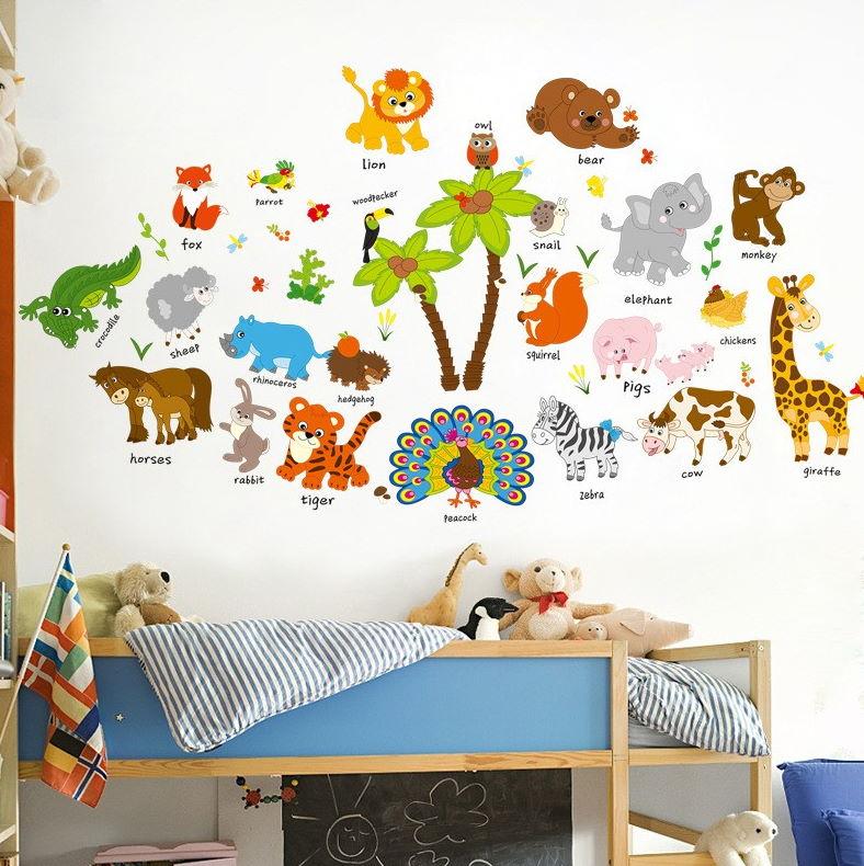 Çoçuk Odası Duvar Stickerları : İngilizce Hayvan İsimleri