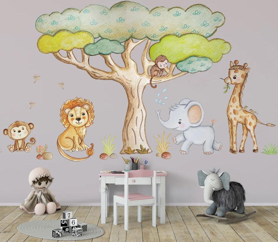 Çoçuk Odası Duvar Stickerları : Ormandaki Sevimli Hayvanlar