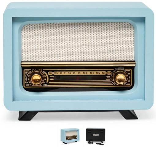 Mavi Renk Dekoratif Nostaljik Radyo