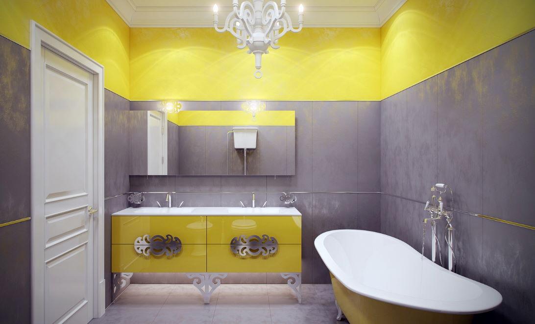 Sarı Renk Muhteşem Banyo Dekorasyonu