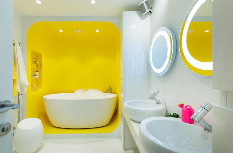 Sarı Yuvarlak Detaylı Banyo Dekorasyonu